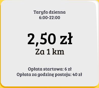 Taryfa dzienna Taxi Mieleckiej Sprint